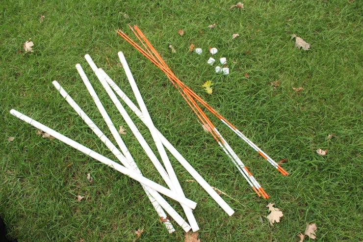 Items from Menards for DIY weave poles made of PVC pipes.